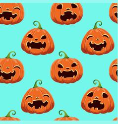 Seamless pattern with different halloween pumpkins vector