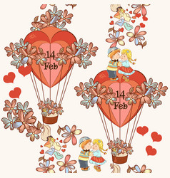 Seamless wallpaper pattern hearts and air balloons vector