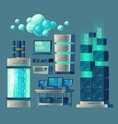 set equipment for data storage vector image