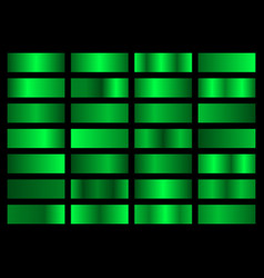 set neon green metallic gradients swatches vector image