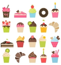 Set of cupcakes and pieces of cake vector