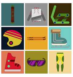 set of icons in flat design ski equipment vector image