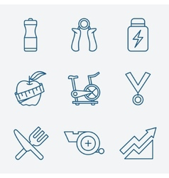 Set of Outline stroke Fitness icons vector image