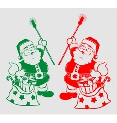 Silhouette of Santa Claus with bag vector