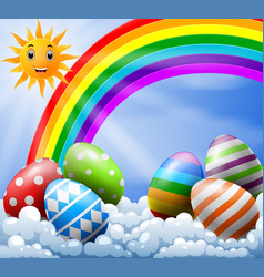 sky with easter eggs near the rainbow vector image