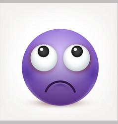 Smileyemoticon violet face with emotions facial vector