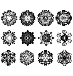 Snowlakes set vector image