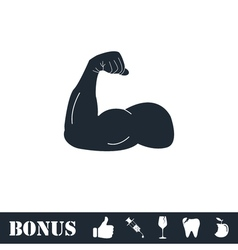 Strong flex arm icon flat vector
