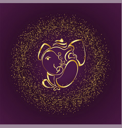 Stylish golden lord ganesha design background vector