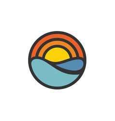 Sun water logo vector