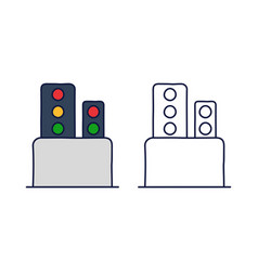 traffic light railway stock icon element train vector image