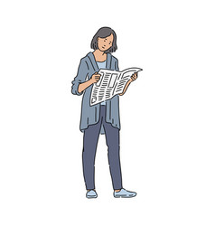 Urban woman reading newspaper interested in world vector