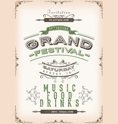 Vintage festival poster background vector