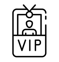 Vip badge with photo icon outline style vector