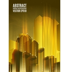 Yellow city skyline at night Graphical urban vector image