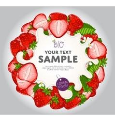 Yogurt splash on strawberries wreath vector