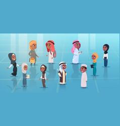 Arab children girls and boys set small cartoon vector