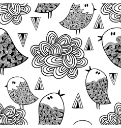 Black and white seamless pattern with birds and vector image vector image