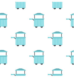 Blue trolley with awning pattern seamless vector
