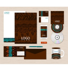 Corporate identity template with ethnic ornaments vector image