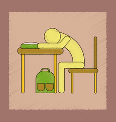Flat shading style icon student sleeping at the vector