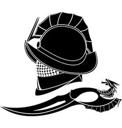 gladiators helmet and knife vector image vector image