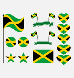jamaica flag set symbols flag in heart vector image