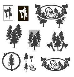 Logo or emblem with trees or forest ranger vector image vector image