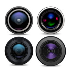 realistic detailed 3d camera lens set vector image vector image