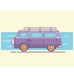 car van line art retro vintage vector image