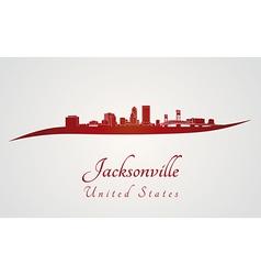 Jacksonville skyline in red vector image