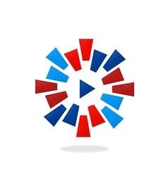 play video circular color logo vector image