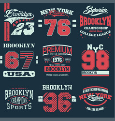 set of 9 brooklyn vector image