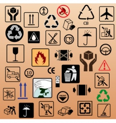 set of packing symbols vector image