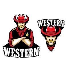 sheriff crossed arm mascot vector image