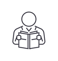 user reading book line icon sign vector image
