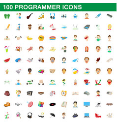 100 programmer icons set cartoon style vector