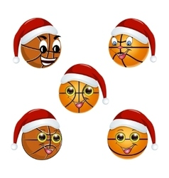 Basketball ball in the hat of Santa Claus vector image vector image