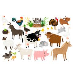 farm animals domestic farm animal collection vector image