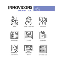 sound studio - line design icons set vector image vector image