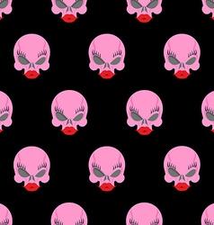 Woman skull seamless pattern background pink skull vector image