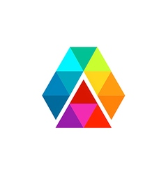 abstract triangle technology color prism logo vector image vector image