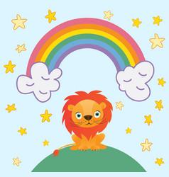 Cute lion cartoon on rainbow background and stars vector