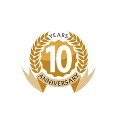10 years ribbon anniversary vector