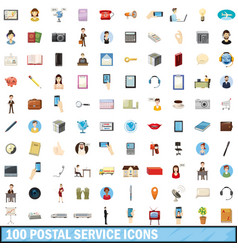 100 postal service icons set cartoon style vector