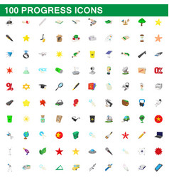 100 progress icons set cartoon style vector image