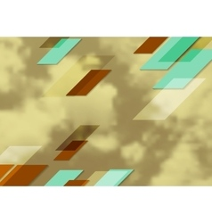 Abstract bright tech geometric design with sepia vector