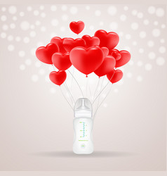 Baby milk bottle with red baloons in shape of vector