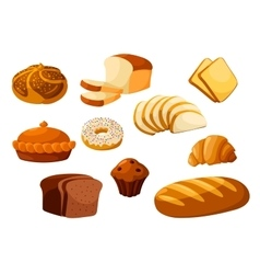 Bakery bread isolated icons vector image
