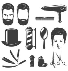 Barber Black White Vintage Icons Set vector
